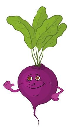 betabel: Dibujos animados, vegetal, el personaje de la remolacha con hojas verdes aisladas en blanco ilustración vectorial de fondo Vectores