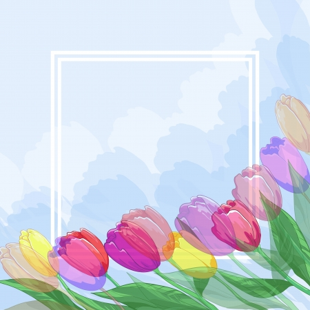 Floral blue heavenly background for greetings card with flowers tulips, leaves and frame Stock Vector - 14066583