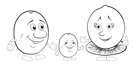 Cartoon, family of character kiwi fruit  mum, father and baby, black contour on white background  Vector illustration Vector