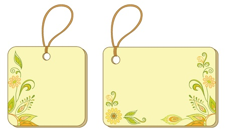 Yellow labels tags, square and rectangle, with floral pattern and ropes Vector
