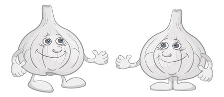 nutritive: Cartoon, two character friend garlics isolated on white background