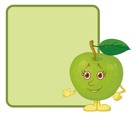 Cartoon, fruit, character green apple shows at the poster Vector