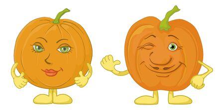 calabaza caricatura: Dibujos animados, las verduras, dos calabazas de carácter aislado sobre fondo blanco