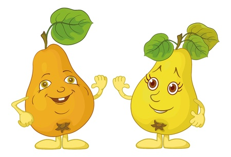 Cartoon, fruits, two character pears with green leaves isolated on white background Vector