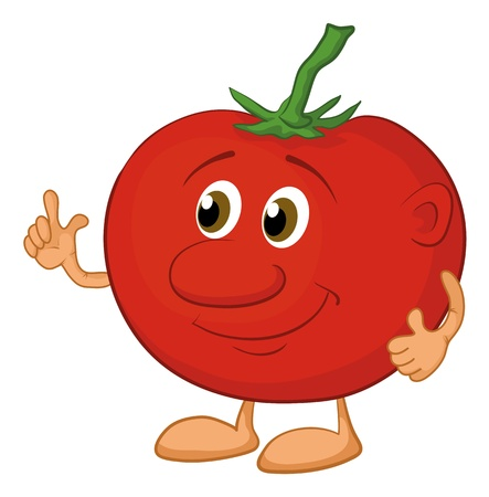 Cartoon, vegetable, character tomato isolated on white background Vector