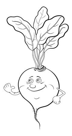 Cartoon-, Gemüse-, Rüben-Charakter mit Blättern, schwarzen Konturen auf weißem Hintergrund