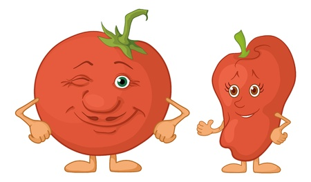 Cartoon, vegetable - friends, characters tomato and pepper Vector