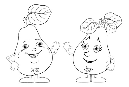 Cartoon, fruits, two character pears with leaves  Vector