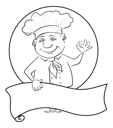 cook cap: Cartoon cook - chef with poster showing ok hand sign