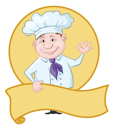 commercial kitchen: Cartoon cook - chef with poster showing ok hand sign