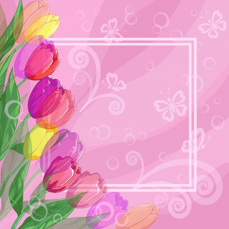Floral pink background for greetings card with flowers tulips, butterflies silhouettes and frame  Vector