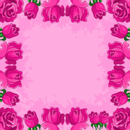 floral background, frame from flowers red roses photo