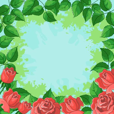 floral background, frame from flowers red roses and green leaves photo