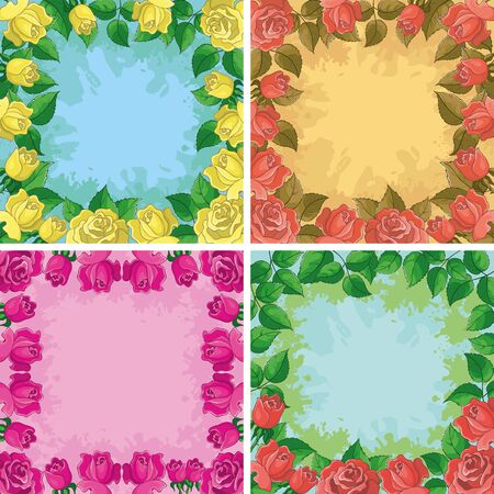 rose petal: Set holiday floral backgrounds, frames from flowers roses