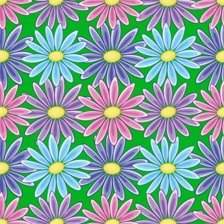 Abstract seamless floral background with a various symbolical flowers    Vector
