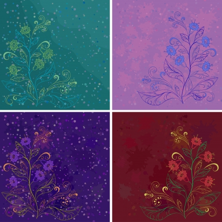 Set abstract floral backgrounds with symbolical flowers   Stock Vector - 14226165