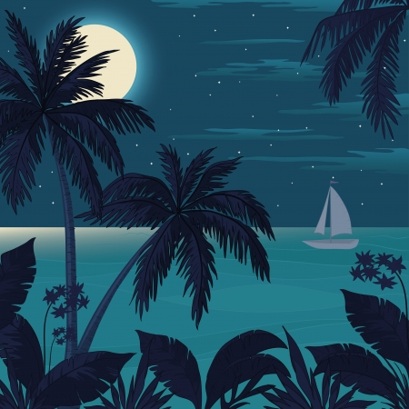 Exotic tropical landscape with moon night sky, palm trees, flowers and sea with sailboat
