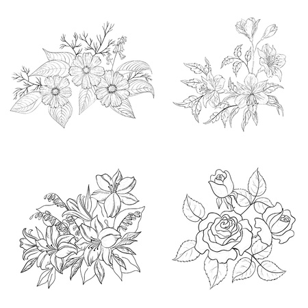 Set of cultivated flowers, black contour on white background  rose, lily, cosmos, alstroemeria illustration