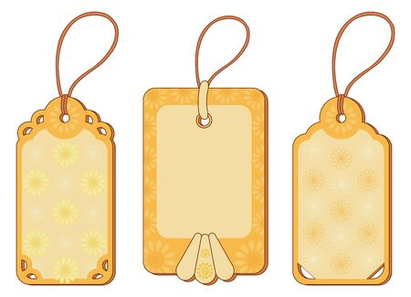 Set labels tags with floral pattern and ropes Stock Vector - 14226170