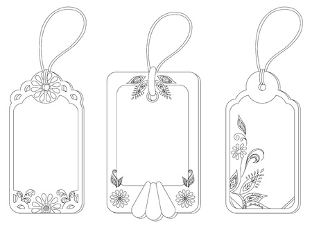 Rectangular labels tags with floral pattern and ropes, contours   Vector