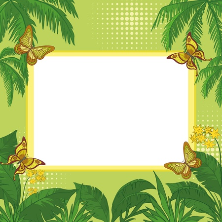 Frame of tropical butterflies, leaves and flowers with a blank white background  Vector