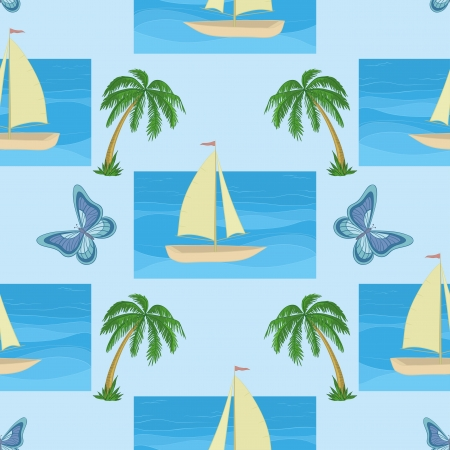 Seamless background with a sailboat at sea, tropical palms and butterflies   Stock Vector - 14252580