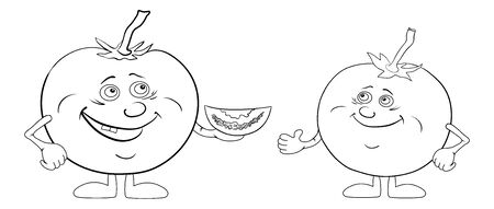 Cartoon, vegetable - friends, characters tomatoes, black contour on white background   Vector
