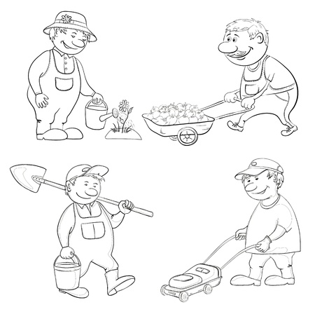bucket and spade: Cartoon  gardeners work  watering a flower, carries trolley, with a bucket and spade, with a lawnmower  Black contour on white  Vector
