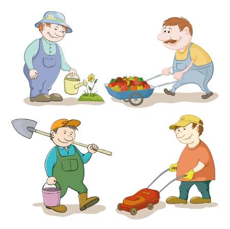 hombre caricatura: Dibujos jardineros trabajan regar una flor, lleva carro con verduras, con un cubo y la pala, con una ilustraci�n vectorial cortadora de c�sped