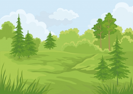Landscape  summer green forest and blue sky illustration Stock Illustratie
