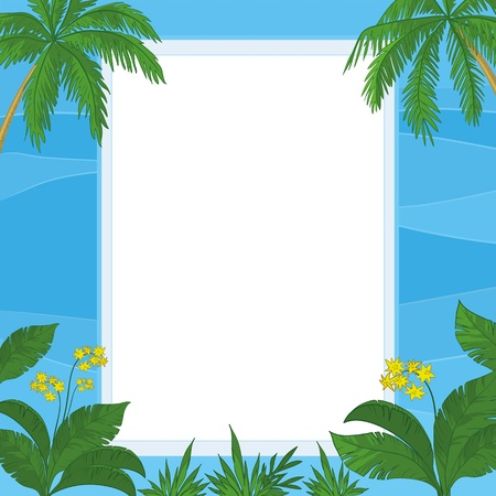 Frame of tropical flowers, palm leaves and blue sea waves with a blank white background  Vector Vector