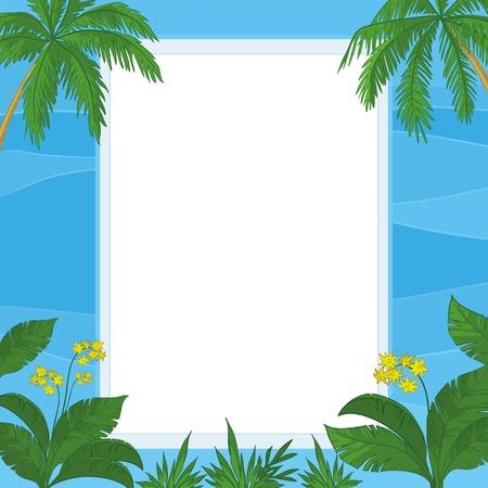 carribean: Marco de flores tropicales, hojas de palma y las olas azules del mar con un Vector de fondo en blanco Vectores