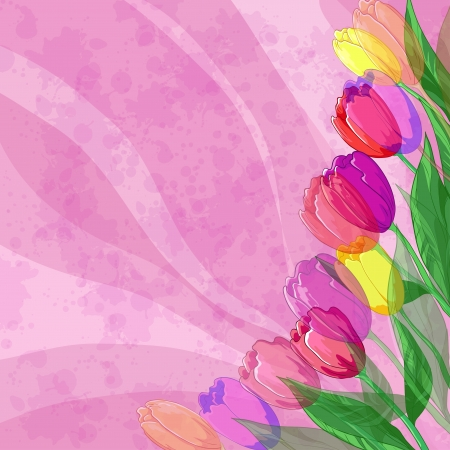 Tulips flowers and leafs on the abstract pink background with waves and blots  Vector eps10, contains transparencies Stock Vector - 14309168