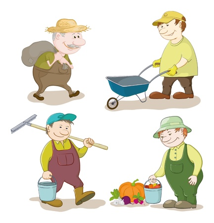 Cartoon gardeners work  carries a sack, carries empty trolley, carries a bucket and a rake, with the harvest of vegetables  Vector