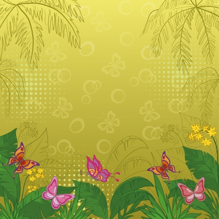 Flower background with tropical flowers, butterflies and contours Vector