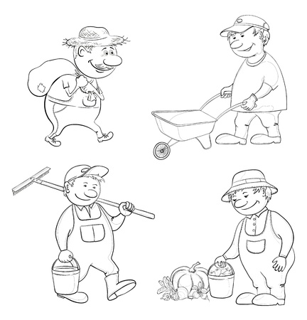 Cartoon gardeners work carries a sack, carries empty trolley, carries a bucket and a rake, with the harvest of vegetables Black contour