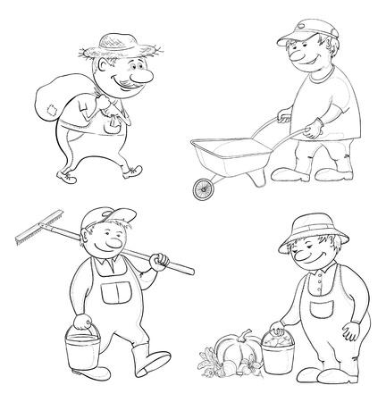 carries: Cartoon lavoro giardinieri porta un sacco, trolley porta vuota, porta un secchio e un rastrello, con la raccolta delle verdure di contorno nero Vettoriali