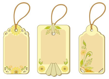 Set yellow and beige labels tags with floral pattern and ropes  Vector Vector