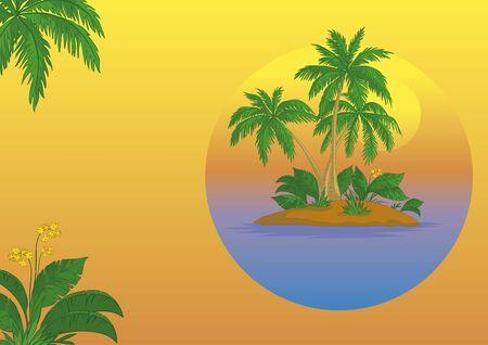 carribean: Tarjeta de visita, la isla del mar tropical con palmeras y flores Vectores