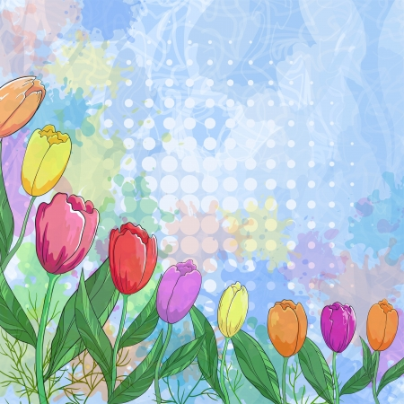 Tulips flowers and leafs on abstract background with circles and blots  Vector eps10, contains transparencies Stock Vector - 14475566