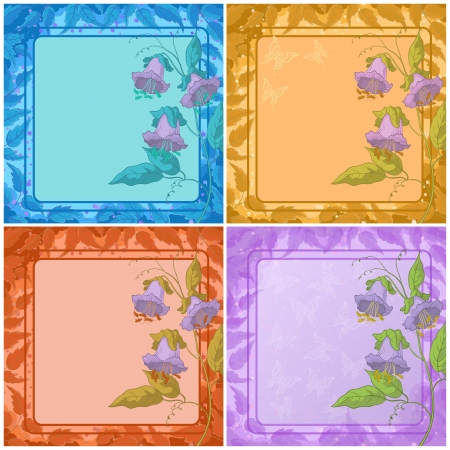 Set backgrounds  flower kobe, leaves frame, butterfly  Vector eps10, contains transparencies