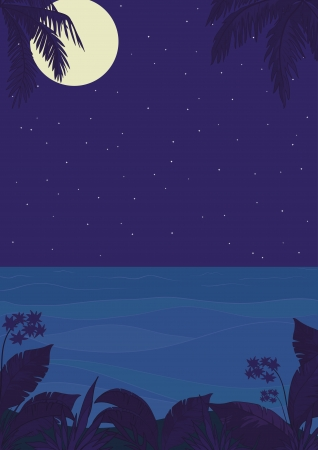 Exotic tropical ocean landscape with moon night sky, palm trees leaves and flowers  Vector Vector