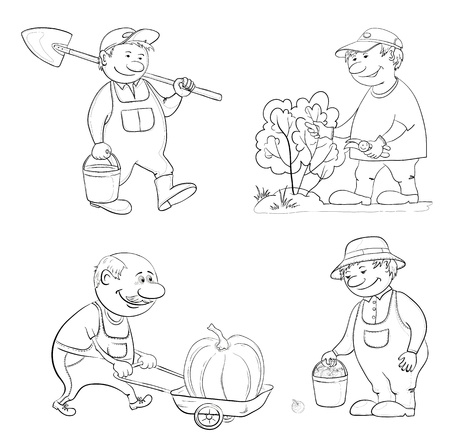 Cartoon gardeners work  with a bucket and spade, cuts a bush with secateurs, carries trolley with pumpkin, with the harvest of apples  Black contour on white background   Vector