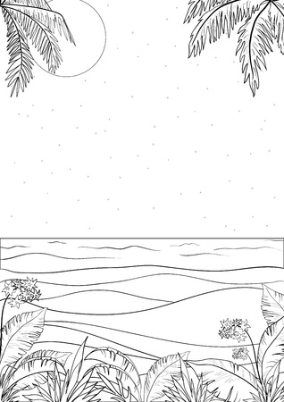 coco: Exotic tropical ocean landscape with moon night sky, palm trees leaves and flowers, black contour on white background  illustration