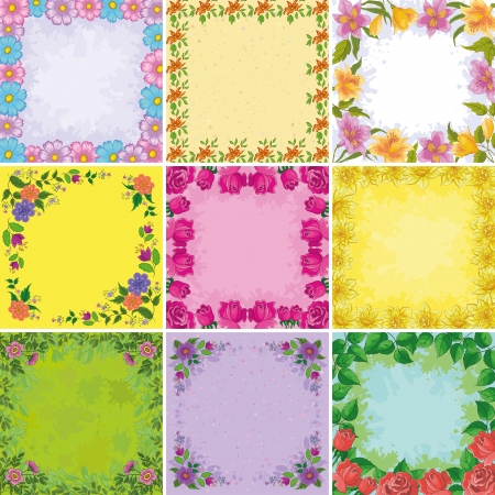 Set holiday floral backgrounds, frames from colorful flowers  cosmos, alstroemeria, roses, symbolical photo