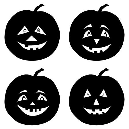 Symbol of the holiday Halloween pumpkins Jack O Lantern, set black silhouettes on white background  Vector illustration Vector