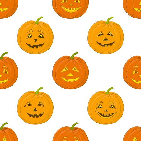 terribly: Seamless background, symbol of the holiday of Halloween pumpkins Jack O Lantern, isolated on white  Vector Illustration