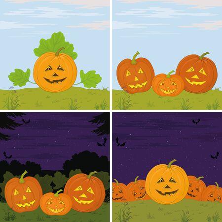 terribly: Symbol of the holiday of Halloween pumpkins Jack O Lantern, set illustration  Vector Illustration