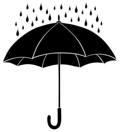 Paraguas y la lluvia cae, silueta negro en la ilustración de fondo blanco
