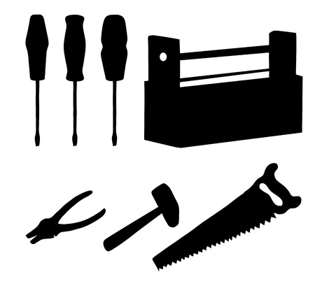 Set operating tools hammers, saws, pliers, screwdrivers and wooden box, black silhouette on white background